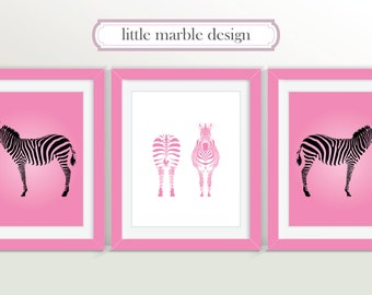 Zebras Print: Black and Pink Zebra, Print Set, Animal Art, Three Print Set, Zebra, 8x10 Print, Animal Art, Animal Print
