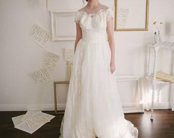 Vintage 1950s Wedding Dress by Priscilla of Boston / Size XS Small / Chantelle Illusion Wedding Dress