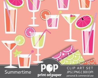 Summer clip art set, Summertime cliparts, summer party invitation, summer beverages, refreshments, picnic invitation, summer celebration