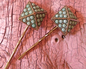 Upcycled Hairpins -:- Pave Turquoise Beads - Bobby Pins