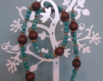 Handmade necklace - chunky wooden beads