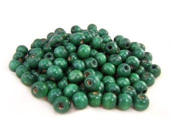 Green Wood Beads 10mm. Green Wooden Beads, Round Beads, Wood Spacer Beads, Macrame Beads for Jewelry Making -  25 PCS