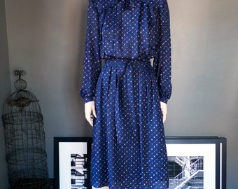 FRENCH vintage/ long sleeve BOW neck DRESS / peter pan collar