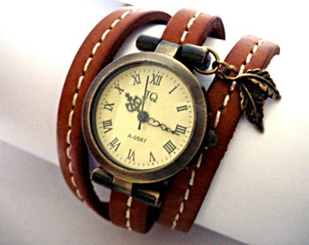 ON SALE 50 % OFF: Stitched WrapWatch - working bronze wrist watch, antique style, stitched real leather bracelet and leaf charm