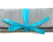 Envelope Clutch in Silver Silk with Aqua Satin bow | Flat evening clutch in silver with your choice of accent color