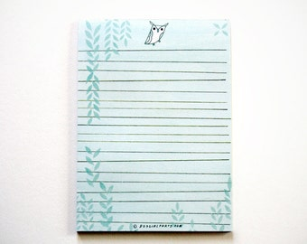 HORNED OWL letter paper, letter pad, kawaii stationery, paper gifts, paper goods, note paper, owl notepad, kawaii stationary, gifts under 10