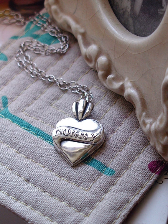 MOMMY Engraved Heart With Banner On Sterling Chain. Christmas or great any day gift for Mom.