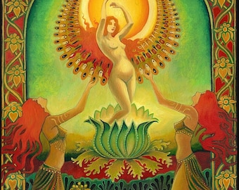 Mother Isis Summer Solstice Goddess 8x10 Fine Art Print Psychedelic Sun Tarot Pagan Gypsy Goddess Art