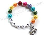 Unicorn Charm bracelet Rainbow Pearls YOU CHOOSE pearl color personalization and charm name bracelet by stargazinglily