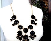 Black Bubble Statement Necklace - Free Stud Earrings - Gift Ideas Under 50 for Her