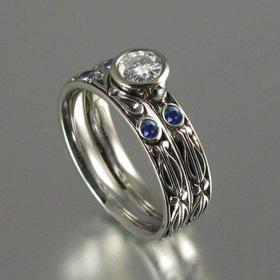 AUGUSTA 14K gold Moissanite engagement ring and blue sapphire band wedding set
