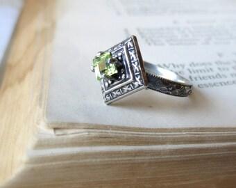 Peridot Gemstone Engagement Ring Edwardian Style Oxidized Sterling Silver