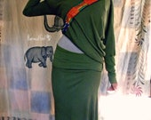 Green Jersey Harvest Pencil Long Skirt on etsy