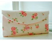 Bridesmaids Clutch purse peach pink Laura Ashley rose Bridal Wedding Shabby bag Gift Giving Make Up Travel Gadget Gift Under 25