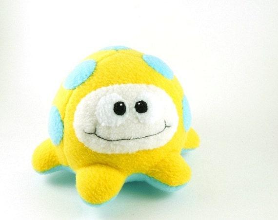 Yellow and Aqua Blue Plush Alien Microbe Stuffed Animal Large Fluffcrobe