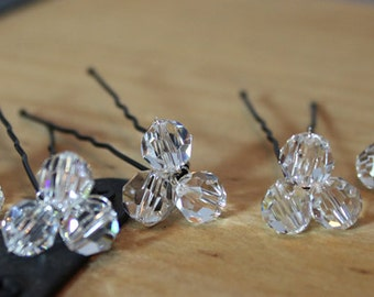 Crystal Bridal Hairpins, Clear Wedding Hair Jewelry Accessories, Clear Bridal Hair jewels, bobby pin, hair jewel, hair stick, sparkle
