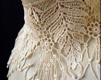 Ghostly Victoriana Choker by Kambriel - made from Vintage Ivory Lace with a Floral Cobwebby Design