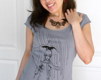 Rainy Day Womens Tshirt, Frog Shirt, Fairy Tale Shirt, Frog Prince, Vegan Shirt, Grey Top, Scoop Neck Tee - Rainy Days and Frog Princes