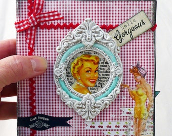 Handmade, OOAK, Kitschy Housewife, mixed media accordian book with matching box