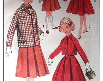 Vintage Paper Pattern -1950s -  Simplicity 1780 - Girl's Jumper, Skirt and Jacket in Two Lengths - Age 10