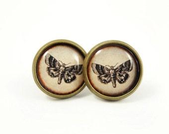 Butterfly Stud Earrings,Woodland Earring Posts,Moth Butterfly Jewelry,Rustic Earring Studs,Forest Woodland Rustic  (E155)