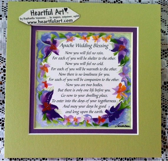 Apache Wedding Blessing: APACHE WEDDING BLESSING 8x8 Inspirational Quote By Heartfulart