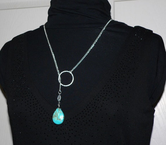 Turquoise Blue Lariat Necklace Infinity Ring Silver Plated Chain