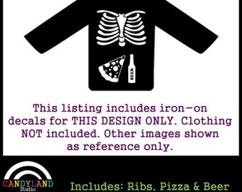 X-Ray Skeleton Costume Iron On - Beer and Pizza - DIY Halloween Costume Matches Maternity Costume