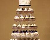Silver love wedding cake topper