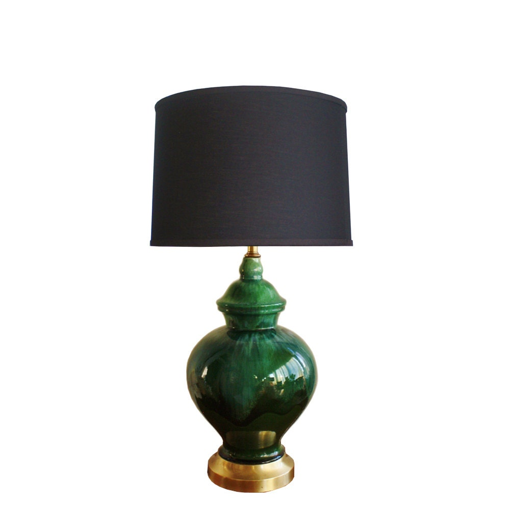 1960s Vintage Midcentury Green Ceramic Table Lamp