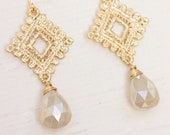 Golden Lace and Chalcedony Briolette Dangle Earrings