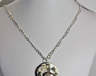Michigan Petoskey stone pendant necklace watch parts with a rubie artist created one of a kind