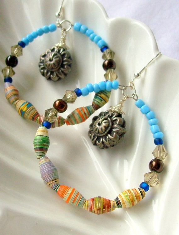 paper beads for sale Handmade recycled plastic and paper beads from africa.