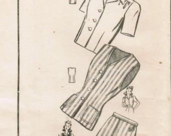 1940s Mail Order 8440 FF Vintage Sewing Pattern Misses' Blouse Jerkin Skirt Size 16 Bust 34
