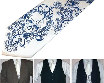 8 Skull Neckties, 7 mens ties and 1 boys tie - floral skull design