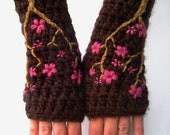Womens Armwarmers Cherry Blossom Arm warmers Texting Gloves Fingerless Gloves Sakura Pink Brown Wool Gloves Wool Armwarmers - MADE TO ORDER