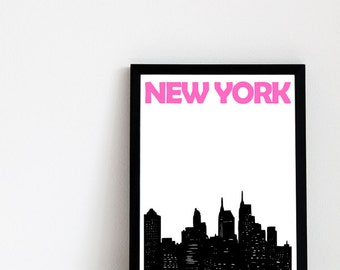 New York Print // New York City Print // New York Skyline // New York Gift // New York Poster // New York Art // Gift for Him / Gift for Her