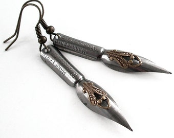 Shades of Shakespeare - Vintage Pen Nibs - Intricate Bronze on Steel Earrings Jewelry
