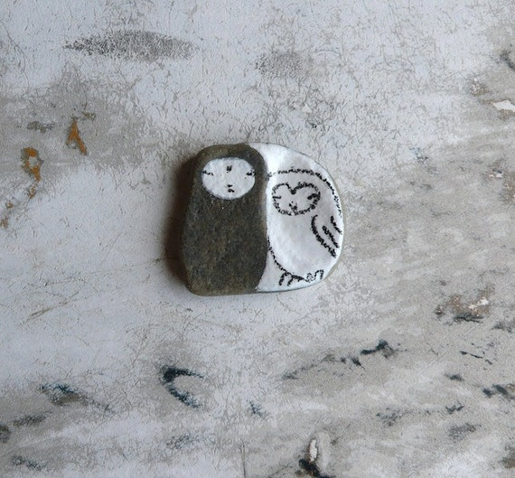 Tiny Grey Beach Stone Jizo Bodhisattva and Owl