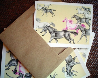 Horse Note Cards, Greeting Cards, Blank Cards, Horses, Boxed Set of 6, All Occasion Cards, Equestrian, Cute Gift for Horse Lover, Ponies