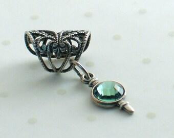 Absinthe Silver  - Filigree Ear Cuff - Brilliant Erinite Earcuff by Lorelei Designs