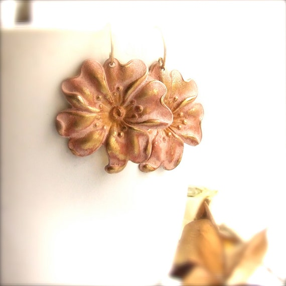 Peach Posy Patina Flower, Brass - Patina Earrings - Cottage Chic -