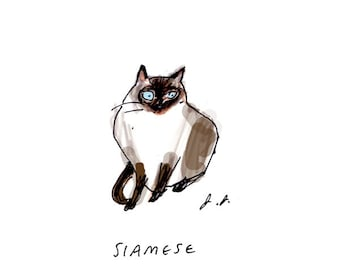 Siamese Cat Print - Cat Art