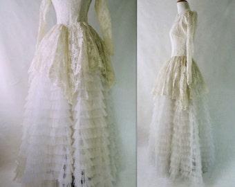 50s Wedding Dress Vintage 50s Wedding 1950s Wedding Dress Tulle Wedding Dress Peplum Wedding Dress Lace Wedding Dress Extra Full Skirt s
