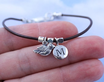 Tiny bird and initial charm bracelet or anklet - sterling silver on brown leather - custom personalized with your initial of choice