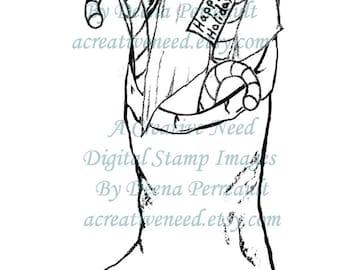 Digital Stamp Image CANDY cane CHRISTMAS STOCKING