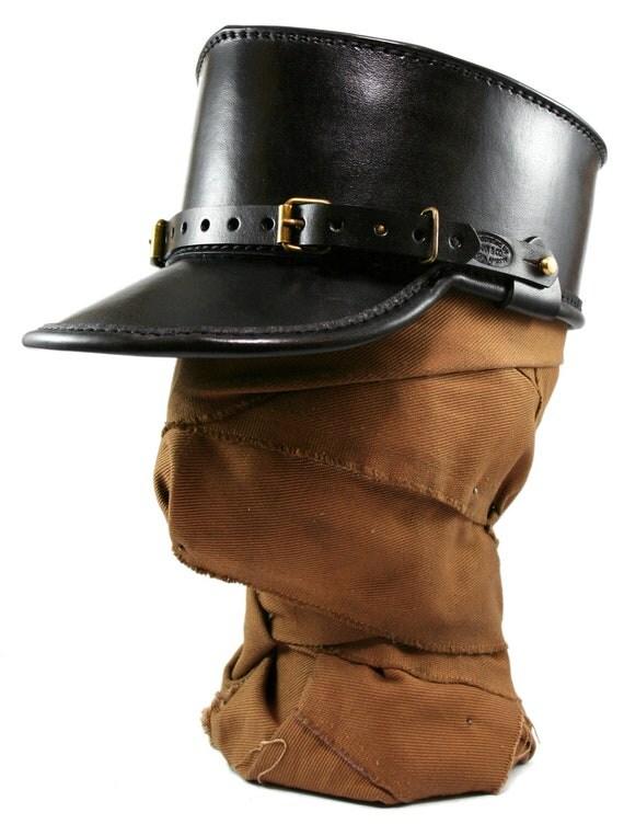 STEAMPUNK LEATHER KEPI hat black leather Skirmisher design
