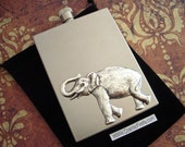 Silver Elephant Flask Industrial Steampunk Vintage Inspired Rectangular Square Edges Silver Stainless Steel