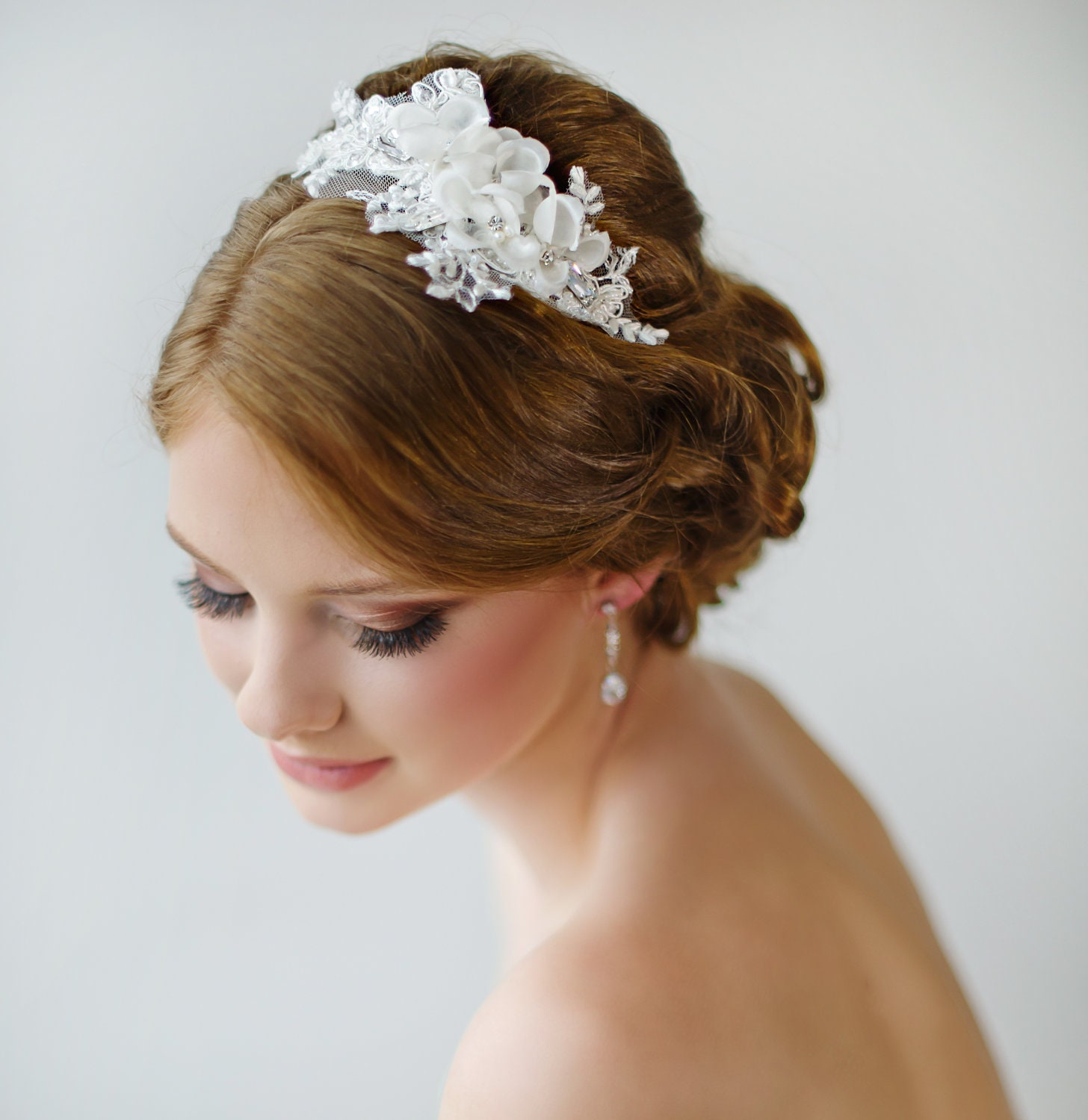 Floral Lace Headpiece For Wedding: Bridal Headband Floral Headband Ivory Lace By PowderBlueBijoux