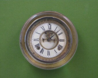 Clock Paperweight, Antique Clock, Crystal Paperweight, Ivory Clock, Round Paperweight, Clock Lover, Desk Accessory, Home Decor